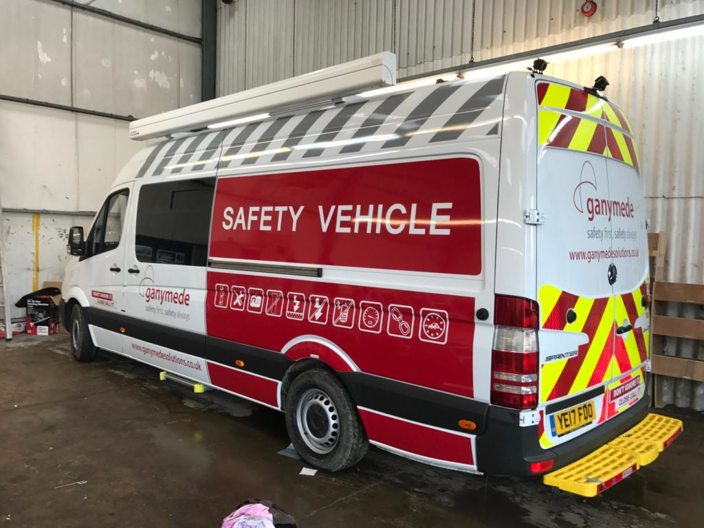 safety vehicle with reflective vehicle graphics in leicester